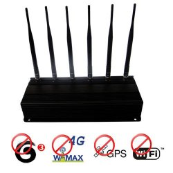 Adjusatble 12W 6 Antenna 4G Wimax 3g Mobile Phone + GPS + Wifi 2.4G Signal Blocker