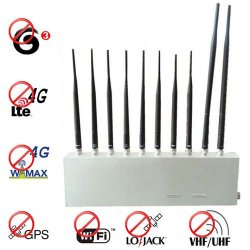 10 Antenna 3G 4G GPS Lojack Wifi VHF UHF All Signal Jammer Blocking Everything