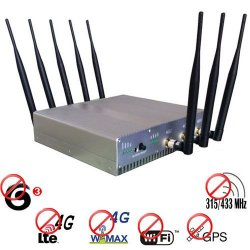 High Power 4G(Lte+Wimax)+ GPS + Wifi + 315Mhz 433Mhz Jammer Blocker 50 Meters