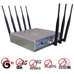 15W High Power 4G (Lte+Wimax)+ GPS + 315Mhz 433Mhz Signal Blocker 50 Meters