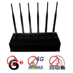 High Power 4G Wimax 3G Cell Phone + 315MHz 433MHz Signal Blocker Jammer