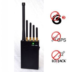 Portable GPS + Lojack + Mobile Phone 3G Signal Jammer 20 Meters