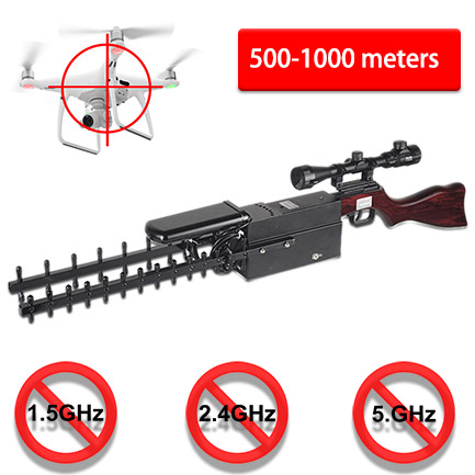 WRJ-02 Drone Gun Jammer High Power 500-1000 meters 1.5GHz 2.4GHz 5.8GHz