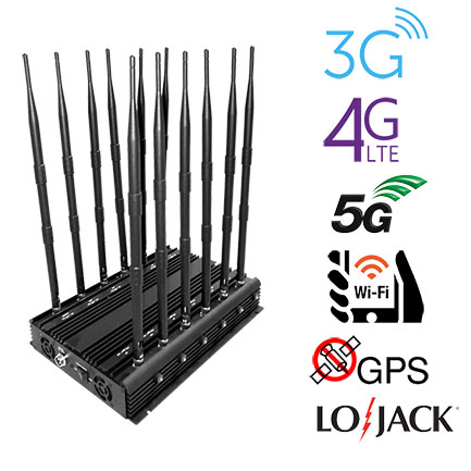 12 Antennas 30W Super High Power GPS WiFi Lojack RC433 RC315 Walkie-talkie UHF VHF 2G 3G 4G Jammer