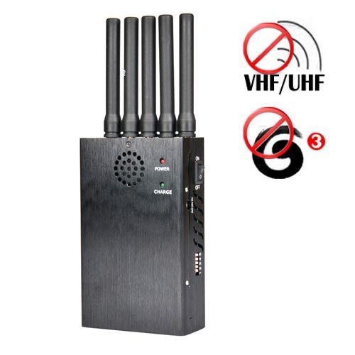 Portable VHF UHF + 3G Mobile Phone Jammer 20 Meters
